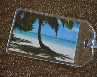 Beach Luggage Tag Save the Dates ( With plastic holder & loops)