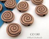 Antique Copper Spiral Coin Beads 10mm (CO 180) 10 pcs BlueEchoBeads
