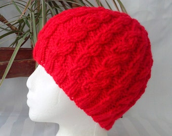 Ready to Ship. Wool/Acrylic Cable Beanie. Christmas Red. Rasta Red. Bright Red. Scarlet. Beanies for Women. Knit Hat. Womens or Mens Hats.