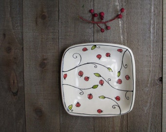 Red ladybug  dish, small insect dish, secret admirer gift for her under 20