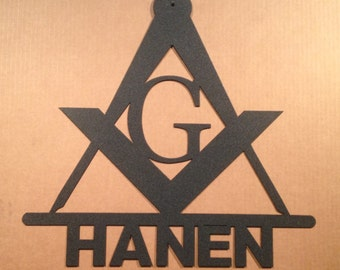 Masonic Metal Wall Sign with Personalized Text  (I28)