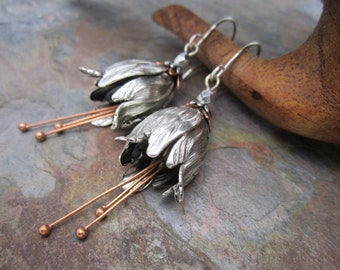 Silver Fairy Bells of Ireland Earrings Bestseller,Long Length, Antique Silver