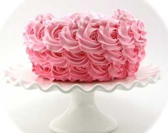 """Fake Rosette Cake Ombre Cake Bubble Gum Pink, Pink, Light Pink. Approx. 8.25""""w x 4.75""""h Smash Cake Prop First Birthday"""