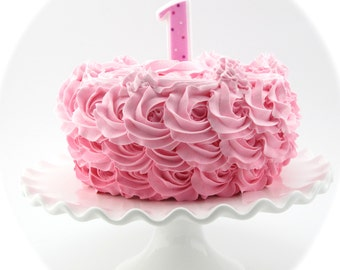 """Fake Rosette Cake Ombre Cake Bubble Gum Pink, Pink, Light Pink Icing. Approx. 8.25""""w x 4.75""""h Smash Cake Prop First Birthday"""