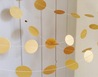 "Gold Garland - Wedding Garland - Party Decoration - Home Decor - Bridal Shower - Birthday - Christmas - Choose Your Length - 1 1/2 "" Circles"