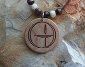 Round UU Flaming Chalice Engraved Wood Necklace