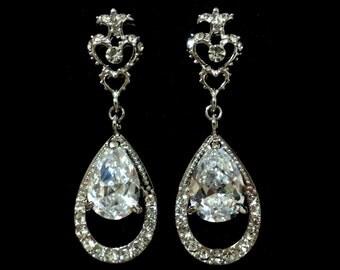 Victorian Wedding Earrings, Cz Drop Bridal Earrings, Cubic Zirconia Wedding Jewelry, Teardrop Wedding Earrings, Fleur De Lis Posts, HELENA