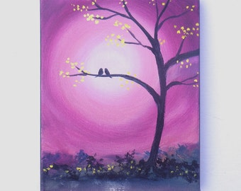 Birds in a tree painting, pair of lovebirds on a moonlit night, 8x10 original painting. Valentine's Day Art