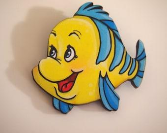 Flounder - The Little Mermaid - Laser Cut Wood Brooch