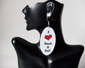 I love rock & roll oval wood earrings