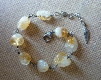Smooth Citrine Wire Wrapped Silver Bracelet