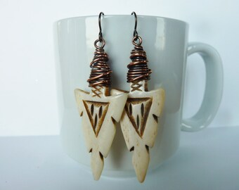 Wire Wrapped Copper and Carved Arrowhead Bone Earrings