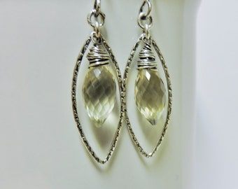 Faceted Lemon Quartz Briolettes in Sterling Silver Textured Marquise Hoops
