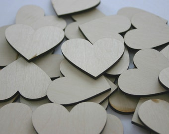 50 Laser Cut Wooden Hearts Wedding Decor