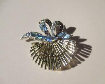AB Blue Aurora Borealis Shell Ribbon Brooch Pin Vintage PELL
