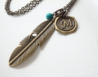 Personalized Antique Feather Wax Seal Monogram Long Necklace
