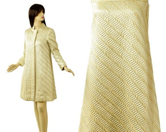 Vintage 60s Sculptured Gold Metallic Brocade Dress and Matching Coat XS S