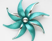 Vintage Park Lane Turquoise Flower Brooch pinwheel design with Silver accents