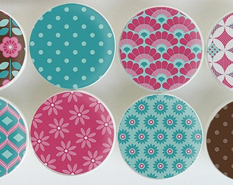 Brown, Pink, Turquoise Floral Pattern Knobs,  White Wood Knobs with Pink, Brown Patterns- 1 1/2 Inches -Choose your quantity - Made-to-Order