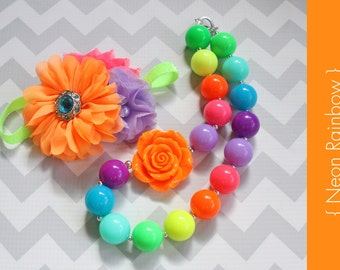 Chunky Necklace or headband { Neon Rainbow } Lime, Pink, orange, teal, lavender First birthday, Summer, Cake smash photography prop