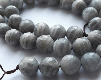 Gray Moonstone Gemstone.  Faceted Rounds. 10mm.  Semi Precious Gemstone. Packet of 4 ...(hmng2). Reduced 50 PERCENT from 10.90.. LAST ONES
