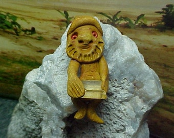 Back From The Crystal Mines, Crystal Miner Gnome or Troll Clay Pendant or Focal Bead e068