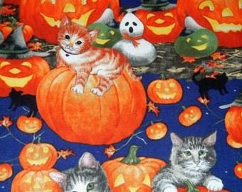 "Halloween Cats Pumpkins ALY Cats & Jacks Print Cotton Fabric 25"""