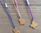 Texas, Louisiana, or Georgia State Charm Necklace