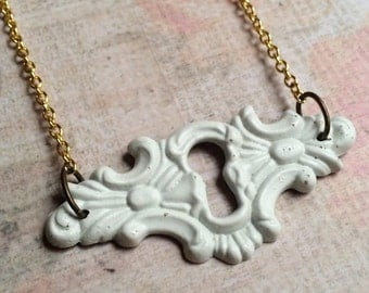 Vintage Filigree Keyhole Necklace