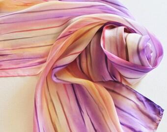 Hand Painted Silk Scarf - Handpainted Scarves Coral Salmon Pink Purple Eggplant Tan Cream Peach Orange Rose