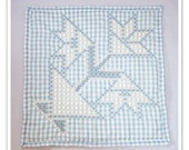 Blue Gingham Wall Hanging with chicken scratch embroidery, gingham decor, embroidered wall hanging