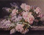 Morning Bouquet Roses Lilacs Print Paul de Longpre Half Yard Long Rose Flower Floral