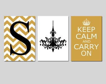 Girl Wall Art Teen Bedroom Decor Gold and Black - Keep Calm and Carry On, Chevron Initial, Chandelier Set of 3 Prints - CHOOSE YOUR COLORS