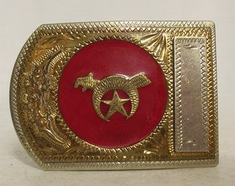 Vintage Shriner Belt Buckle - Jewel of the Order - star red gold silver - Quality collectible
