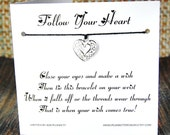 Follow Your Heart - Wish Bracelet - (Pure Elegance) - Shown In The Color BLACK  - Over 100 Different Colors Are Also Available