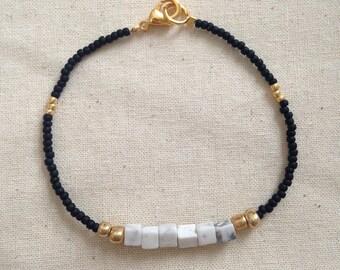 Howlite and Black Beaded Bracelet