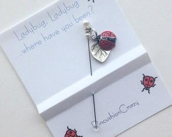 Ladybug Stick Pin - Embellishment Pin - Dress up your Pincushion - Ladybug Lovers Pins - Ladybird Charm