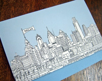 Philadelphia Skyline - Hello Postcards