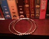 Thin Silver Faceted Bangles Tests as Sterling Skinny Bangles