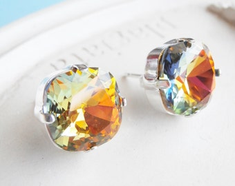 Volcano Multi-Colored Swarovski Cushion Cut Stud Earrings