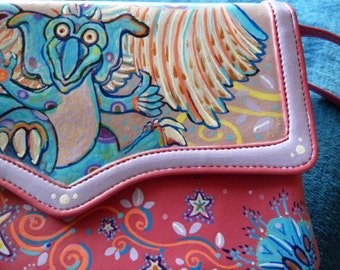 Playful Dragon hand painted vinyl young ladies purse