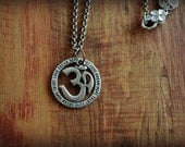 Tribal Large OM Symbol Pendant Round Engraved Inspirational Words Pendant Necklace