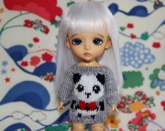 SALE - Lati Yellow PukiFee - Cute PANDA Sweater - Grey-White-Red - Limited