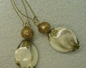 Vintage RARE Brass Tea Strainer Bead Earrings,Vintage 1950s German Etched Lucite