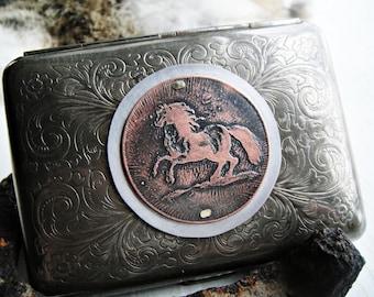 Crazy Horse Etched Wallet / Cigarette Case in Victorian Filigree