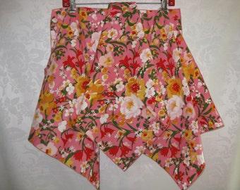 Pink Flower Cloth Napkins Set of Four Vintage 60s
