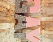Glitter Letters Pink and silver self standing you choose the glitter color best same sex gift gay celebration gift gay wedding decor