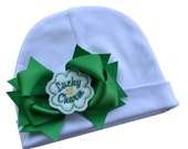Lucky Charm Cotton Baby Hat with Grosgrain Bow
