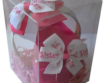 Big Sister Little Sister Matching Baby Hat & Headband Boxed Gift Set