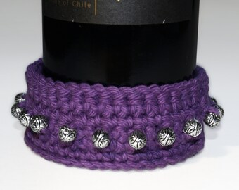 Coaster - Wine Bottle, Cotton, Beverage, Crocheted, Custom, Bar Drinkware, Round, Kitchen, Purple, Made to Order, Your CHOICE OF COLORS